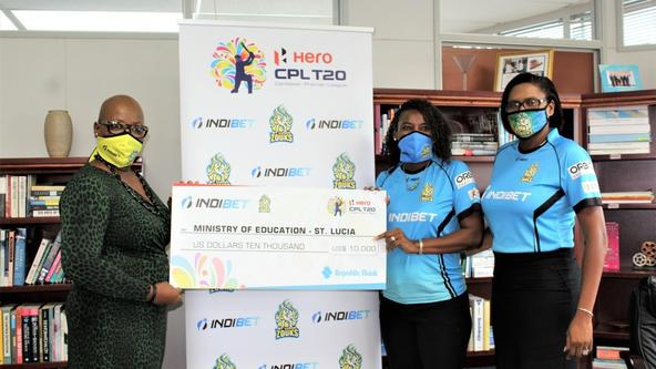 Ministry of Education, St.Lucia thanks Zouks & Indibet for fulfilling donation pledge